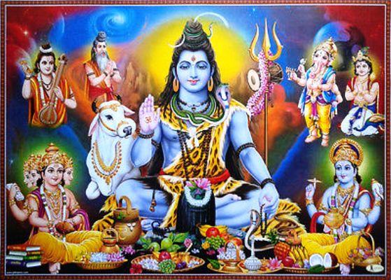 महादेव और विष्णु की पूजा करते समस्त देवतागण