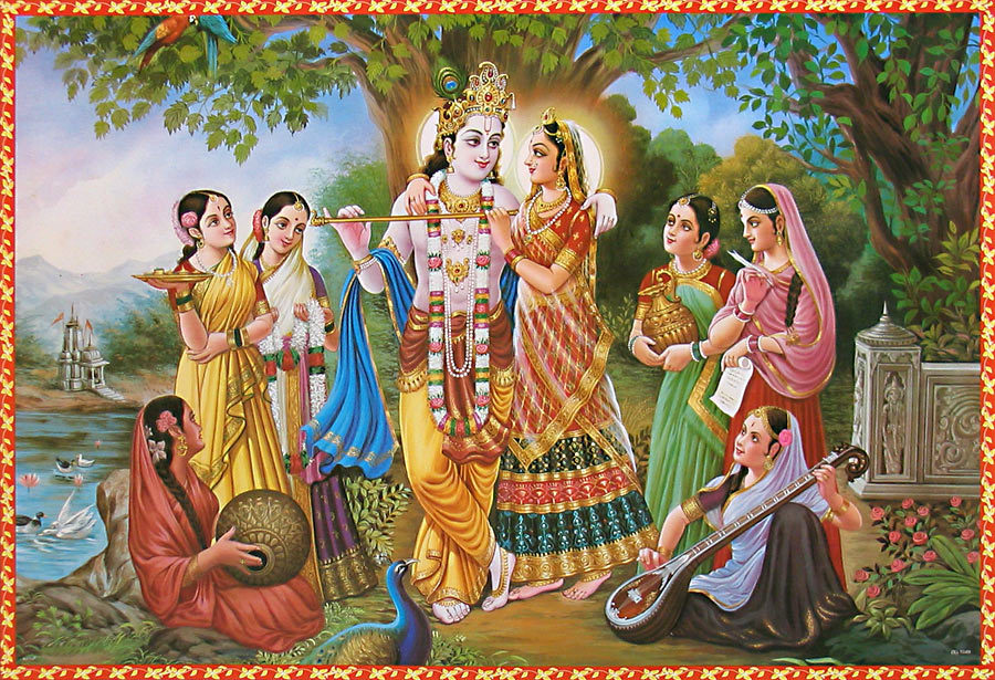 Krishna with Radha and Gopis in Braj